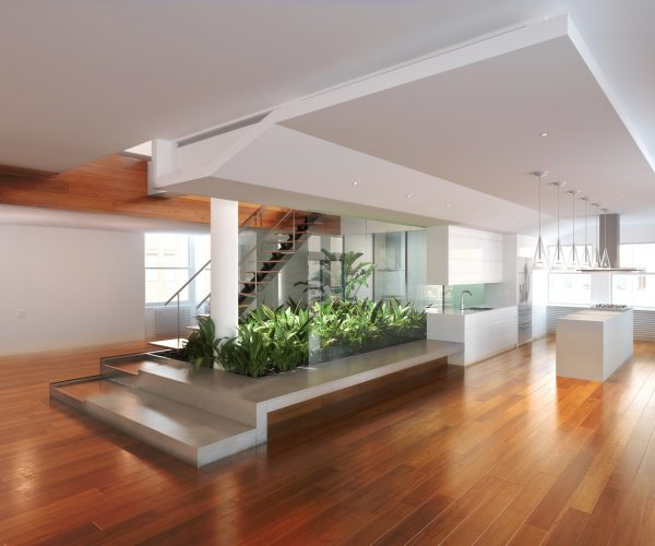Empty room of residence with an atrium center